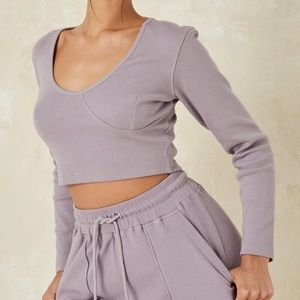 missguided gray crop top